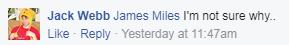 Jack's FB Comment